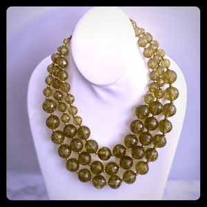 Vintage 3 Strand Chartreuse Glitter Bead Necklace